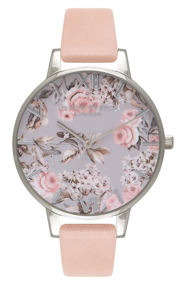 "Olivia Burton ""Enchanted Garden"" Leather strap watch. $125."