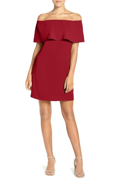 Charles Henry Off the Shoulder Woven A-Line Dress $88