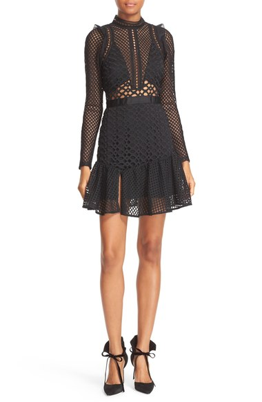 Self-Portrait Hall Lace Mesh Minidress $475