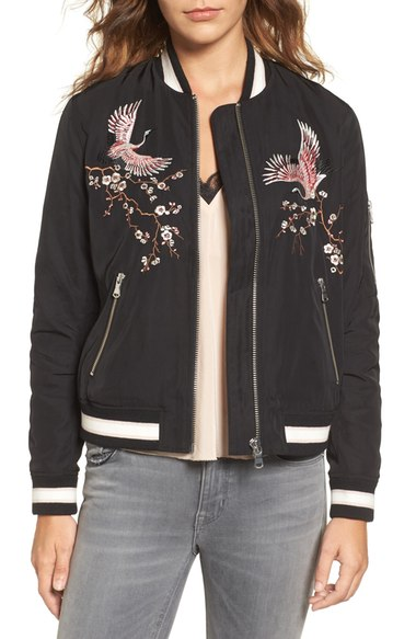 Trouve Embroidered Bomber Jacket $149