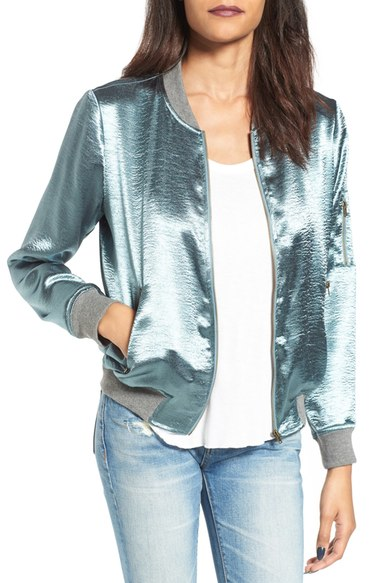 Storee Satin Bomber Jacket $75