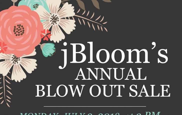 Jbloom Blowout Sale and New Catalog Launch